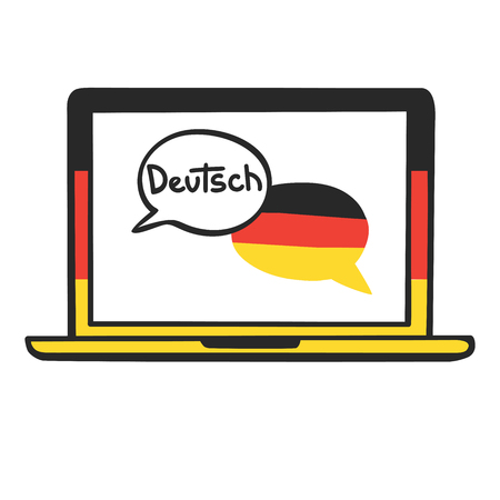 German. Vector illustration with speech bubbles, the national flag of Germany and hand written on the screen of a laptop. Online linguistic school, course, class logo, icon design