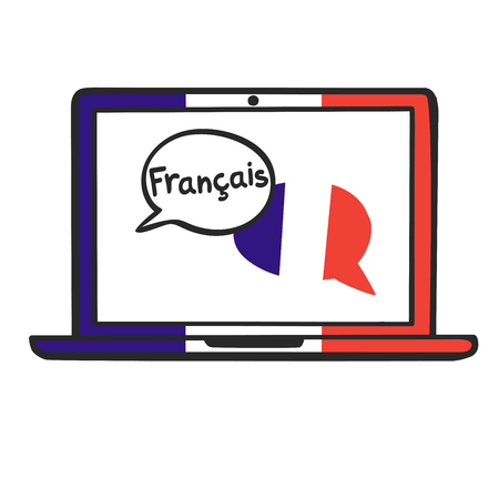 French. Vector illustration with speech bubbles, the national flag of France and hand written on the screen of a laptop. Online linguistic school, course, class logo, icon design