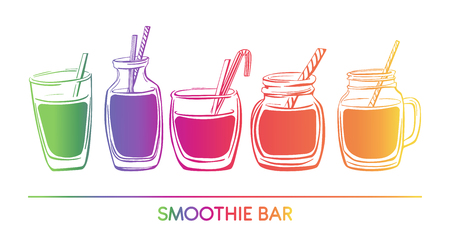 Vector illustration Smoothie. Collection of hand drawn cups, mugs and glasses. Bright elements in colorful gradient isolated on white background. Horizontal card, banner.