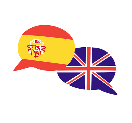 Vector illustration with two hand drawn doodle speech bubbles with national flags of Spain and the United Kingdom. Modern design for foreign language course, classes, school or translation agency. Illustration
