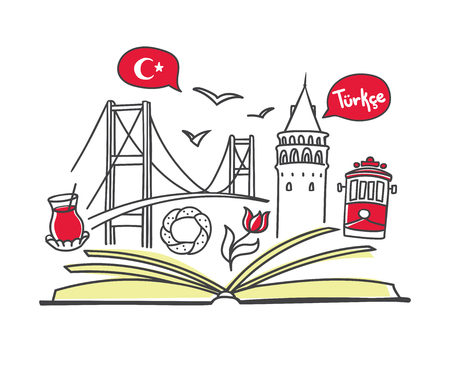 Turkish language. Vector line illustration of famous turkish symbols with an open book. Modern design for linguistic school, class or course. Education card, flier, poster, banner, print, leaflet. Illustration