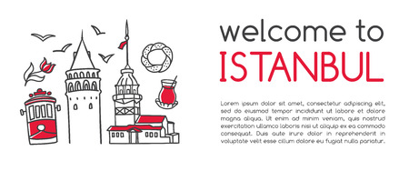 Modern vector illustration Welcome to Istanbul. Famous landmarks and symbols of Turkey. Clear design with line icons and objects isolated on white with place for your text. Card, banner, flier leaflet