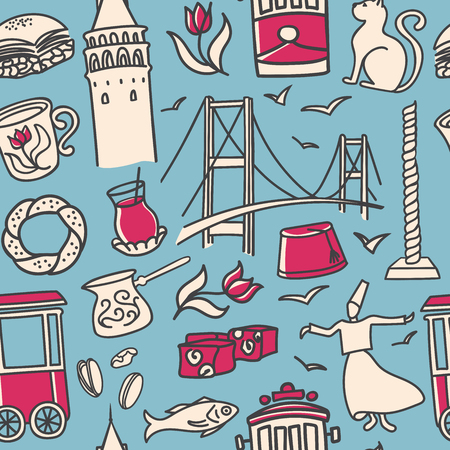 Vector seamless pattern with doodle symbols of turkish symbols and Istanbul landmarks on blue background. Modern clear line design for touristic print, backdrop, wrapping paper or wallpaper. Illustration