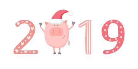 Pig in a Santa hat. 2019 calendar concept. Christmas cover, banner, card, poster design. Symbol of Chinese New Year. Flat character isolated on white. Foto de archivo - 111442670