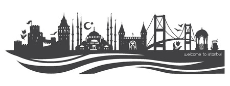 Istanbul symbols. Modern flat vector panoramic illustration of famous turkish landmarks. Black horizontal skyline silhouette with waves isolated on white background. Travel to Turkey concept design.