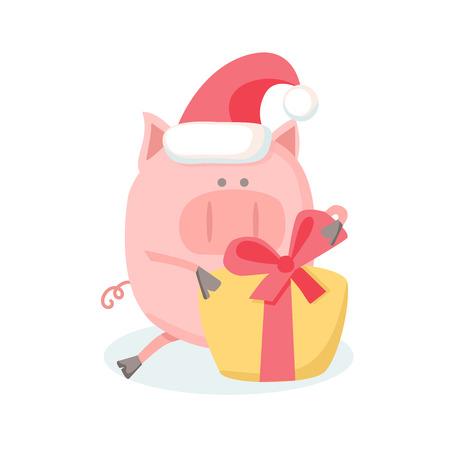 Yellow gift box isolated on white background. Piggy Flat Design