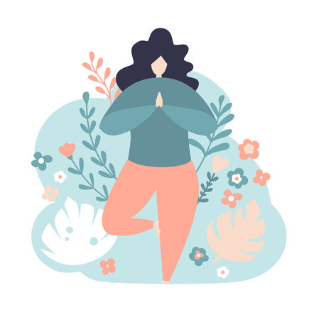Modern vector illustration of a woman in the tree position. Cute flat female character. Oversized girl with flowers and twigs on the blue background. Yoga and meditation concept.