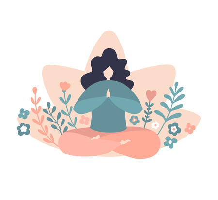 Cute woman holding a towel for women. Minimalist flat character practicing meditation in a sitting pose.