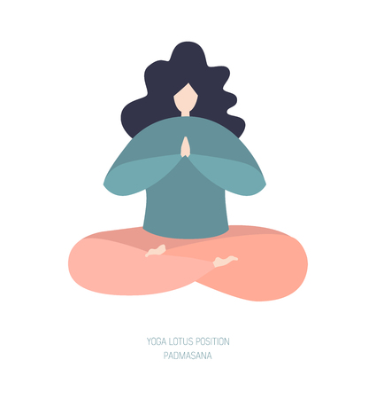 Vector illustration of a woman in the yoga lotus position. Modern bright flat character sitting and relaxing. Cute girl in pastel blue and pink colors isolated on white. Archivio Fotografico - 116611179