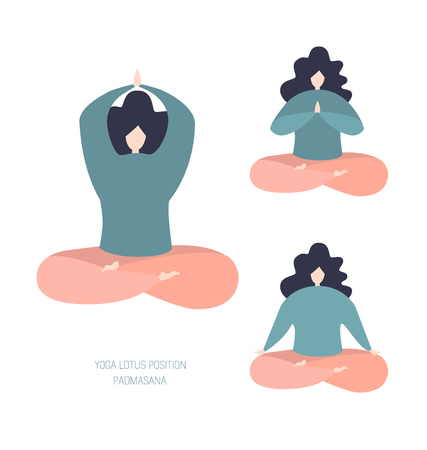 Set of vector illustration of women in the lotus position. Modern bright flat character sitting and relaxing. Cute oversized girls in pastel colors isolated on white. Meditation and yoga.