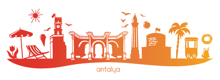 Vector panoramic illustration with yellow, orange, yellow gradient silhouette of famous turkish symbols. Horizontal banner with clock, gate, minaret in Turkey.