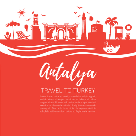 Istanbul symbols. Modern flat vector illustration of famous turkish landmarks. Panoramic skyline silhouette with waves on red square background. Travel to Turkey concept design.