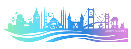Istanbul symbols. Vector panoramic illustration of famous turkish landmarks. Horizontal skyline silhouette on blue background. Travel to Turkey concept.