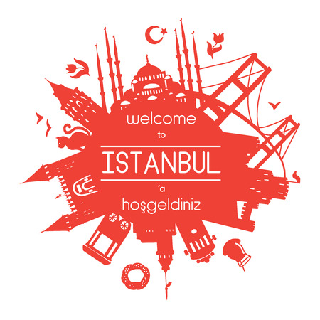 Welcome to Istanbul, Turkey. Vector illustration of famous turkish attractions. Red background for greeting text or message.