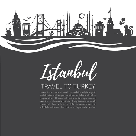 Istanbul. Travel to Turkey. Modern flat vector illustration of famous turkish landmarks. Panoramic skyline with place for your text information. Ilustração