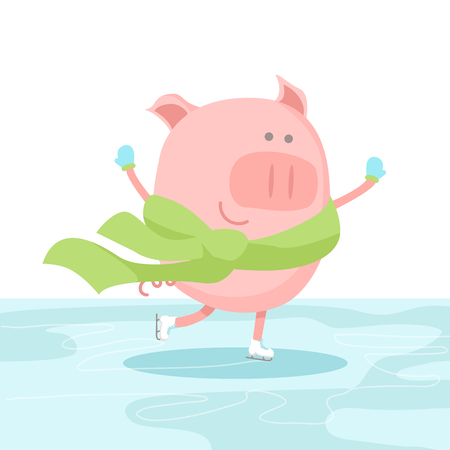 Vector illustration of a cheerful pig wearing gloves, scarf and skating at the rink. Chinese New Year or Christmas card design.