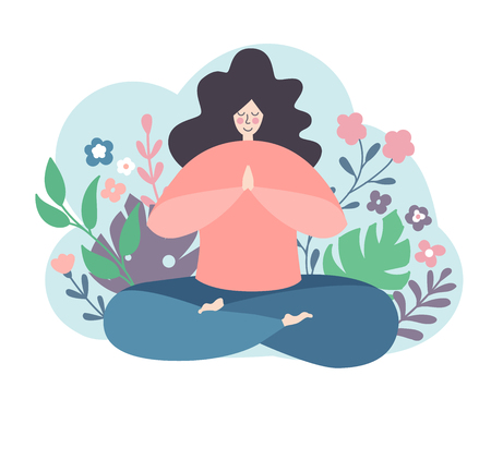 Modern flat vector illustration of a woman in a lotus position. Lovely smiling female character. Oversized girl with doodle flowers isolated on white. Yoga and meditation concept.