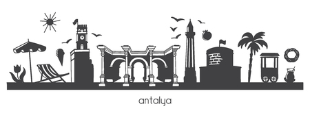Antalya, Turkey with hand drawn doodle turkish symbols. Horizontal panoramic scene for banner or print design. Flat minimalistic style with black elements. Çizim