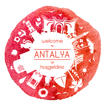 Welcome to Antalya, Turkey. Vector illustration of famous turkish attractions. White watercolor stain. Round frame for greeting text or message. - Vector Illustration
