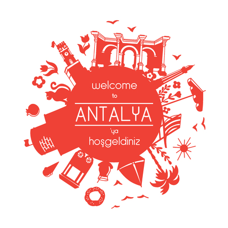 Welcome to Antalya. Vector illustration of famous turkish attractions. Frame in red and white colors for your text or message. - Vector