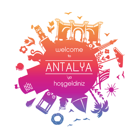Translation: Welcome to Antalya. Red, pink, violet, gradient colors. Card, poster, banner, leaflet, flier design. - Vector