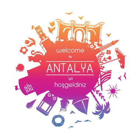 Translation: Welcome to Antalya. Red, pink, violet, gradient colors. Card, poster, banner, leaflet, flier design. - Vector