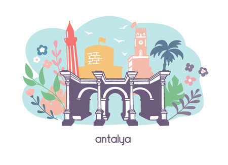 Colorful flat vector illustration Antalya, Turkey. Main seesights: Hudrian's gate, the clock tower, the minaret Travel conception. - Vector