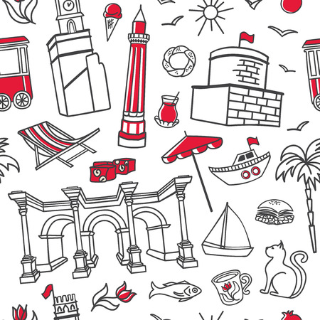 Antalya symbols. Doodles and red elements on white background. Modern clear line design for print, backdrop, wrapping paper. - Vector