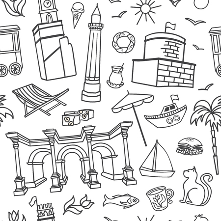 Antalya, Turkey. Vector seamless pattern with white hand drawn doodles on white background. Modern clear line design for print, backdrop, background, wrapping paper design. - Vector