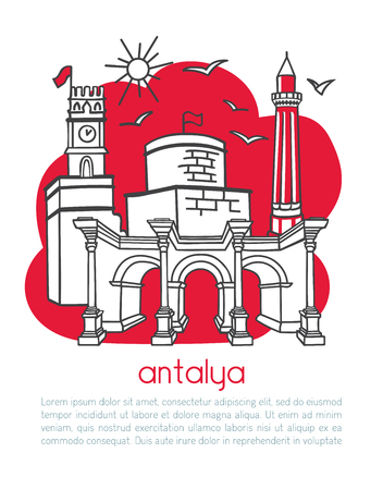 Antalya, Turkey. Vector illustration of famous city and its symbols. Vertical card design with text. Red color blocks on white. - Vector