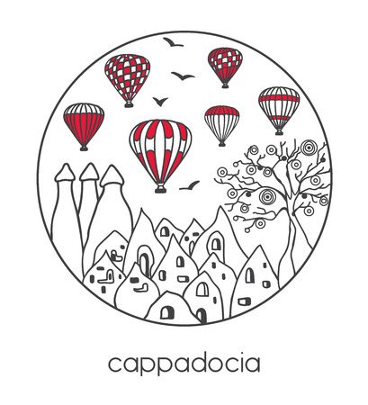 Modern illustration of a famous turkish traveling symbol Cappadocia and its landmarks in the circle frame. Hand drawn doodle on white background. - Vector