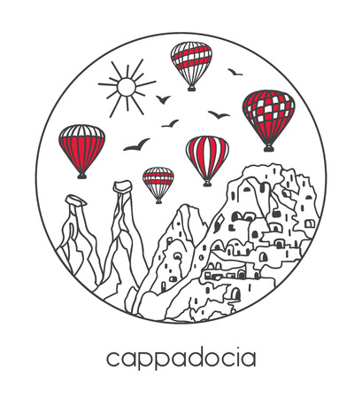 Vector illustration of a famous turkish travel destination. Hand drawn doodle on white background. - Vector Illustration