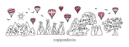 Moderne Illustration des Vektors Kappadokien mit Hand gezeichneten türkischen Symbolen des Gekritzels. Horizontale Panoramaszene für Banner- oder Druckdesign. Einfacher minimalistischer Stil mit schwarzem Umriss und roten Elementen. - Vektor