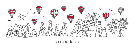 Vector modern illustration Cappadocia with hand drawn doodle turkish symbols. Horizontal panoramic scene for banner or print design. Simple minimalistic style with black outline and red elements. - Vector