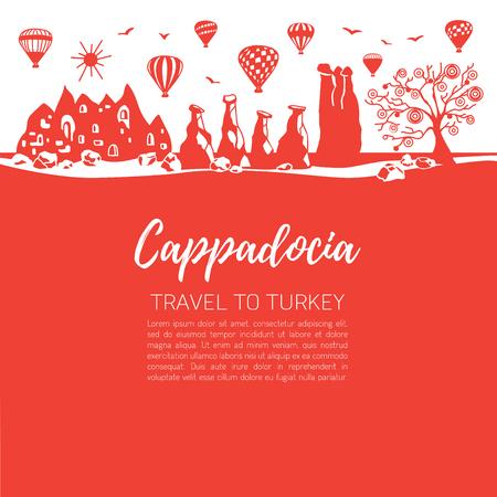 Cappadocia and its landmarks. Red squares background. - Vector Иллюстрация
