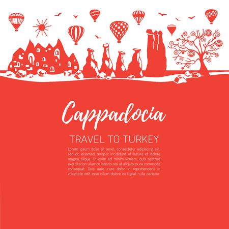 Cappadocia and its landmarks. Red squares background. - Vector Illustration