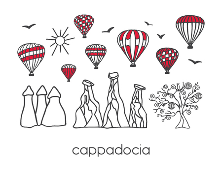 Cappadocia, Turkey. Red white blocks on white background. Card, banner, poster, flyer design - Vector Illustration