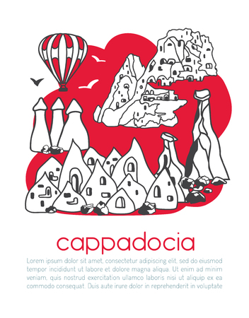 Cappadocia Vector illustration of famous turkish landmark and its symbols. Vertical card design. Red color blocks on white. - Vector