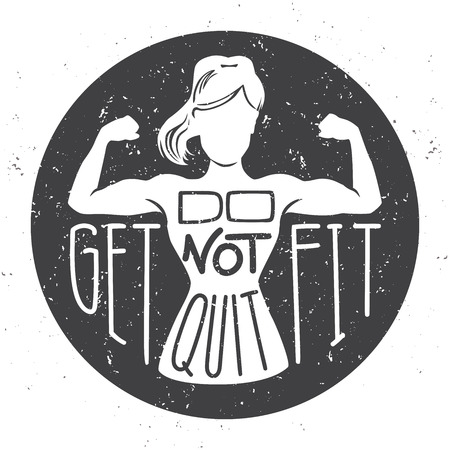 Do not quit, get fit. Motivational vector illustration with female silhouette doing bicep curls. Hand written inspirational fitness phrase. Lettering design on black circle with grunge texture. - Vector Illustration