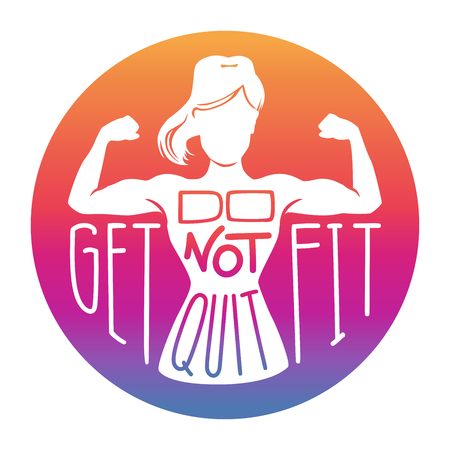 Do not quit, get fit. Gradient colors with lettering. Female silhouette in a bicep curl pose. Hand written phrase. Inspirational card, poster or banner. - Vector
