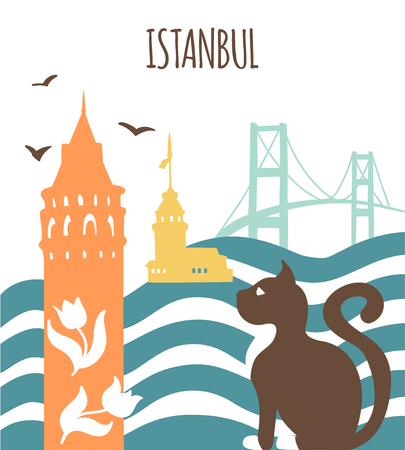 Istanbul. Illustration of a galaxy tower Card, poster, flier, print design. Travel to Turkey concept. - Vector