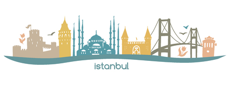 Turkish turkish symbols: tower, bridge, gate, mosque in Turkey. Colors isolated on white background. - Vector