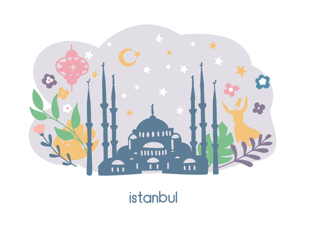 Vector illustration of Istanbul landmarks and cute doodle flowers, leaves and plants. The Blue Mosque, crescent moon. Card, banner, leaflet, flyer or poster design. - Vector