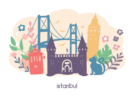 Vector illustration of Istanbul landmarks and cute doodle flowers, leaves and plants. Galata tower, tram, palace, bridge. Card, banner, leaflet, flyer or poster design. - Vector