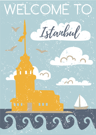 Welcome to Istanbul. Vertical vector illustration with a flat silhouette of the Maiden Tower. Card, poster, flier, print design. Turkish symbol in retro colors with grunge texture. Travel to Turkey. - Vector