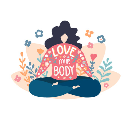 Love your body. Cute flat vector illustration with an inspirational phrase. Lovely plus size woman in the lotus pose. Inspiring yoga and meditation concept. - Vector