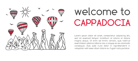 Vector illustration of a famous turkish travel destination: hot air balloons. Card design with text