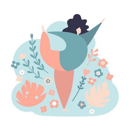Modern vector illustration of a plus size yogi woman. Lord of the Dance pose. Cute flat female character. Oversized girl with flowers, twigs, plants on the blue background. Body positive. - Vector