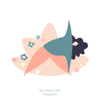 Vector illustration of a woman in the Triangle yoga pose. Cute flat female character. Oversized girl with doodle flowers and lotus behind. Yoga and meditation concept. - Vector
