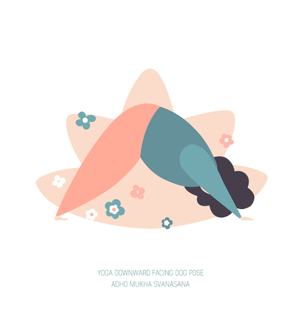 Vector illustration of a woman in a Downward Facing Dog yoga pose. Cute flat female character. Oversized girl with doodle flowers and lotus behind. Yoga and meditation concept - Vector Illustration